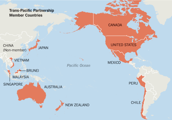 Paises Miembros del TPP |Crédito: The New York Times